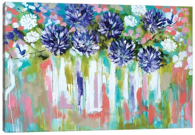 Agapanthus And Splendid Wrens Canvas Art Print