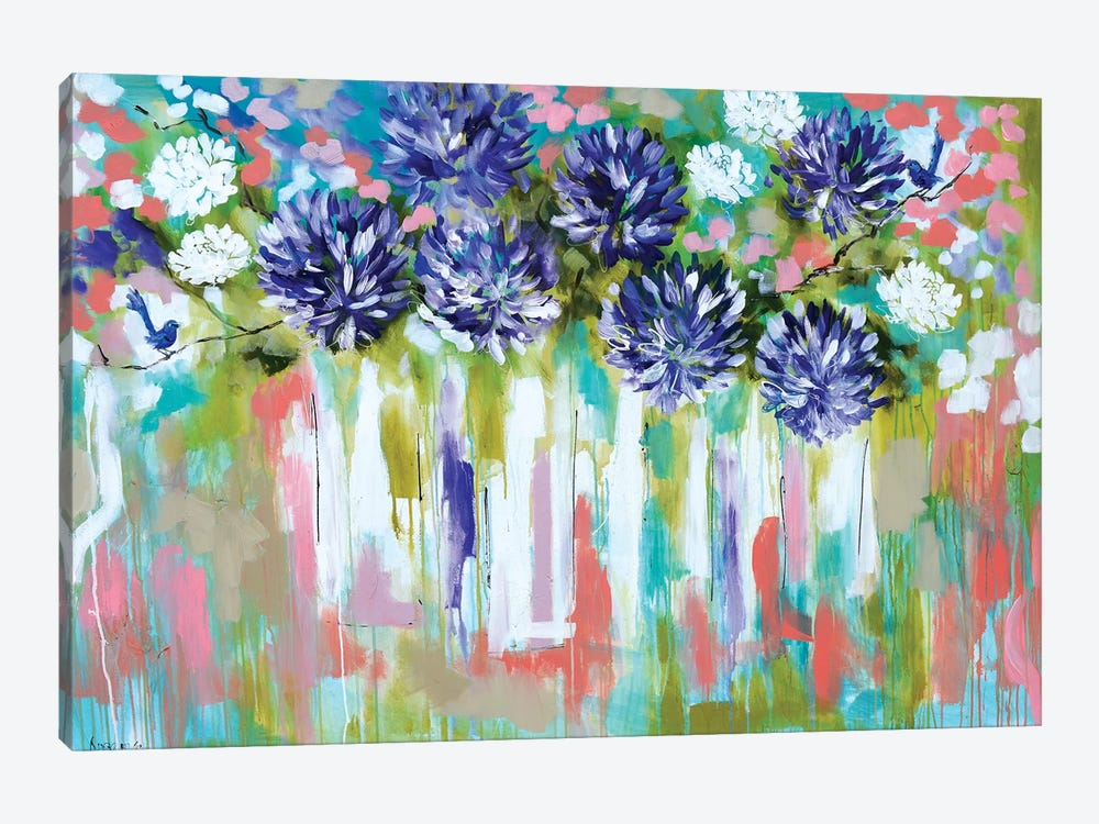 Agapanthus And Splendid Wrens by Amanda J. Brooks 1-piece Canvas Art