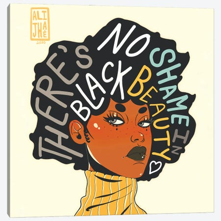 No Shame In Black Beauty Canvas Print #AJH2} by Alijhae West Canvas Artwork