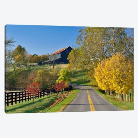 Rural Autumn Landscape II, Bluegrass Region, Kentucky, USA Canvas Print #AJO19} by Adam Jones Art Print