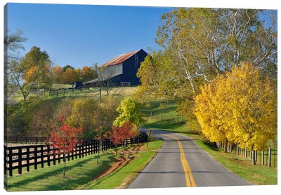 Rural Autumn Landscape II, Bluegrass Region, Kentucky, USA Canvas Art Print