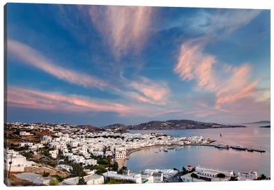 Village Harbor, Mykonos, Cyclades, Greece Canvas Print #AJO1
