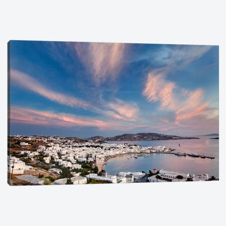 Village Harbor, Mykonos, Cyclades, Greece Canvas Print #AJO1} by Adam Jones Canvas Print