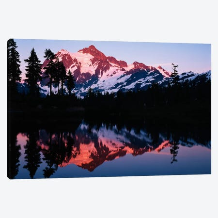 Mount Shuksan And its Reflection In Picture Lake At Dusk, North Cascades National Park, Washington, USA Canvas Print #AJO29} by Adam Jones Canvas Wall Art