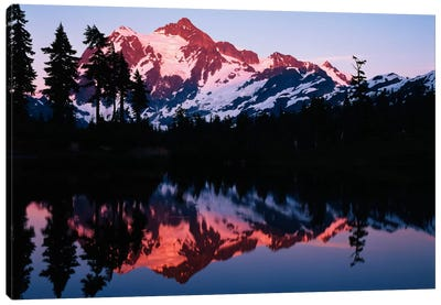 Mount Shuksan And its Reflection In Picture Lake At Dusk, North Cascades National Park, Washington, USA Canvas Art Print