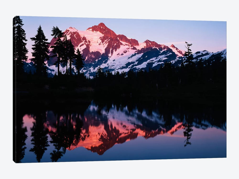 Mount Shuksan And its Reflection In Picture Lake At Dusk, North Cascades National Park, Washington, USA by Adam Jones 1-piece Canvas Artwork