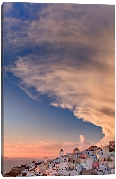 Cloudy Sunset, Oia, Santorini, Cyclades, Greece Canvas Print #AJO2