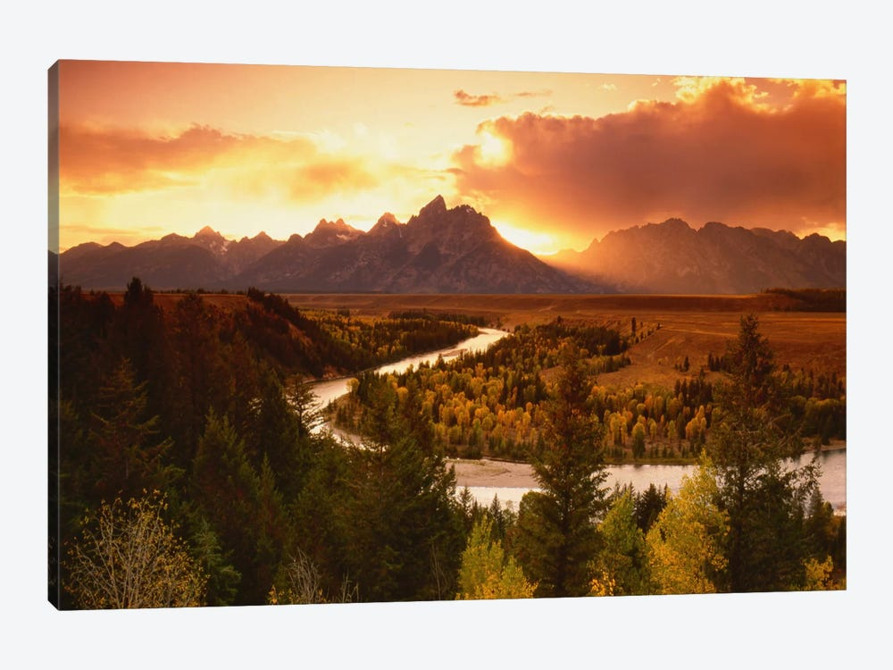 Sunset Over Teton Range With Snake River In The Foreground, Grand Teton National Park, Wyoming, USA by Adam Jones 1-piece Art Print
