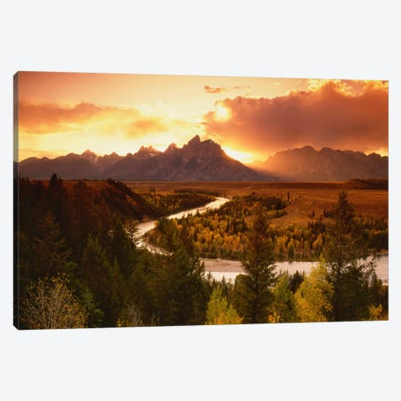 Sunset Over Teton Range With Snake River In The Foreground, Grand Teton National Park, Wyoming, USA Canvas Print #AJO31} by Adam Jones Art Print