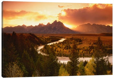 Sunset Over Teton Range With Snake River In The Foreground, Grand Teton National Park, Wyoming, USA Canvas Print #AJO31