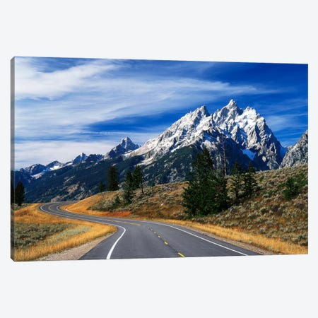 Teton Range As Seen From Teton Park Road, Grand Teton National Park, Wyoming, USA Canvas Print #AJO32} by Adam Jones Canvas Print