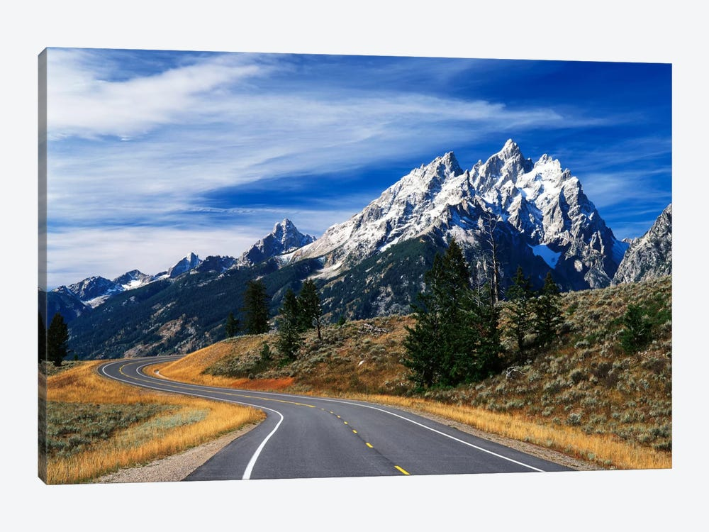 Teton Range As Seen From Teton Park Road, Grand Teton National Park, Wyoming, USA 1-piece Canvas Artwork