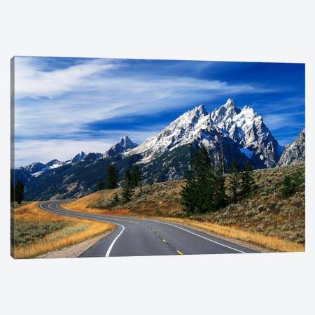 Teton Range As Seen From Teton Park Road, Grand Teton National Park, Wyoming, USA Canvas Print #AJO32} by Adam Jones Canvas Print