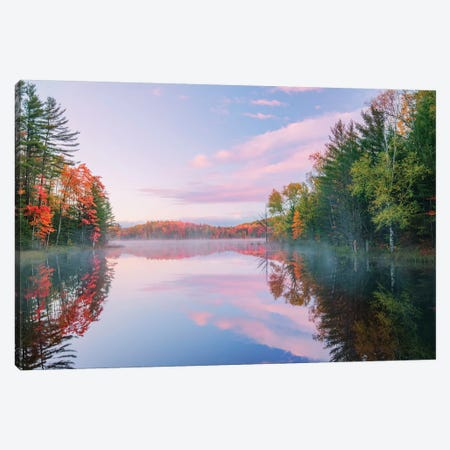 Autumn Colors And Mist On Council Lake At Sunrise, Hiawatha National Forest, Michigan. Canvas Print #AJO39} by Adam Jones Canvas Print