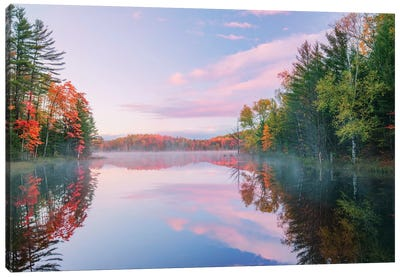 Autumn Colors And Mist On Council Lake At Sunrise, Hiawatha National Forest, Michigan. Canvas Art Print