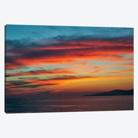 Majestic Seascape Sunset, Mykonos, Cyclades, Greece Canvas Print #AJO3} by Adam Jones Art Print