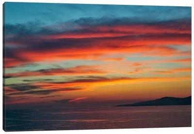 Majestic Seascape Sunset, Mykonos, Cyclades, Greece Canvas Art Print