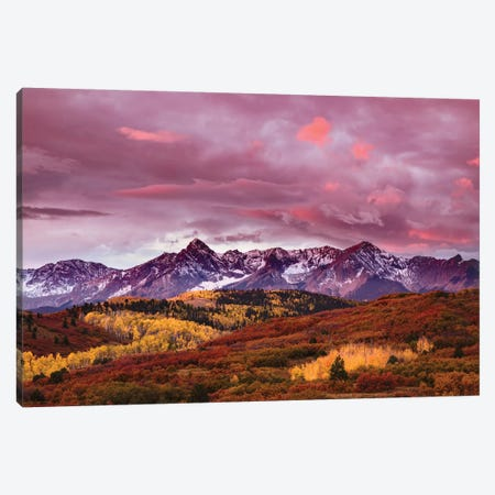 Autumn, Aspen Trees And Sneffels Range At Sunset, Mount Sneffels Wilderness. Colorado Canvas Print #AJO40} by Adam Jones Canvas Artwork