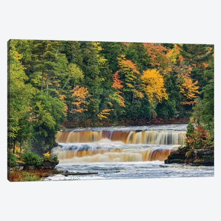 Cascade on Tahquamenon Falls in autumn, Tahquamenon Falls State Park, Michigan Canvas Print #AJO47} by Adam Jones Art Print