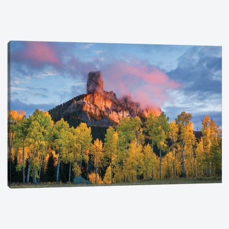 Chimney Rock at sunset, Cimarron range in autumn, San Juan Mountains, Colorado Canvas Print #AJO49} by Adam Jones Canvas Artwork