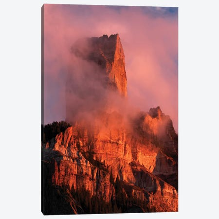 Chimney Rock at sunset, from Owl Creek Pass, Cimarron range, San Juan Mountains, Colorado Canvas Print #AJO50} by Adam Jones Canvas Print