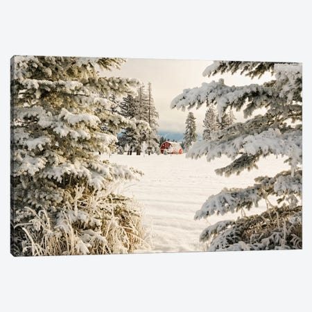 Classic red barn and snow scene, Kalispell, Montana Canvas Print #AJO51} by Adam Jones Canvas Art Print