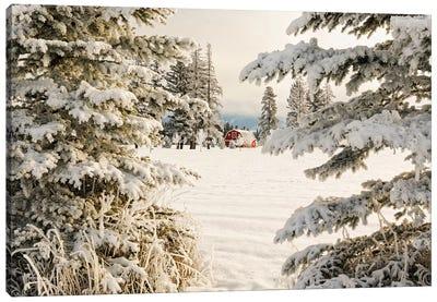 Classic red barn and snow scene, Kalispell, Montana Canvas Art Print