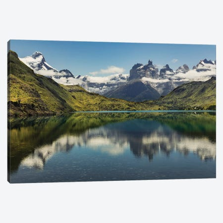Cuernos del Paine reflecting on lake, Torres del Paine National Park, Chile, Patagonia Canvas Print #AJO56} by Adam Jones Canvas Artwork