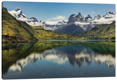 Cuernos del Paine reflecting on lake, Torres del Paine National Park, Chile, Patagonia Canvas Art Print