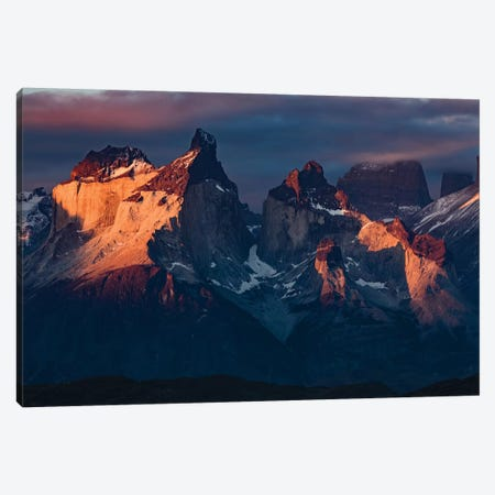 Paine Massif at sunset, Torres del Paine National Park, Chile, Patagonia III Canvas Print #AJO70} by Adam Jones Canvas Art Print