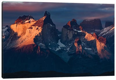 Paine Massif at sunset, Torres del Paine National Park, Chile, Patagonia III Canvas Art Print