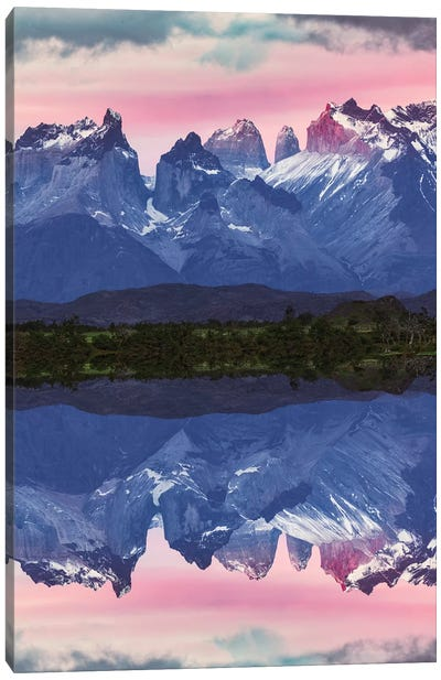Paine Massif reflection at sunset, Torres del Paine National Park, Chile, Patagonia Canvas Art Print