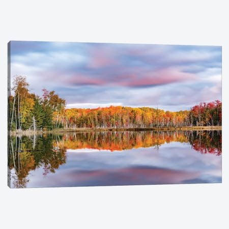 Red Jack Lake and sunrise reflection, Alger County, Michigan. Canvas Print #AJO76} by Adam Jones Canvas Art
