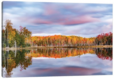 Red Jack Lake and sunrise reflection, Alger County, Michigan. Canvas Art Print