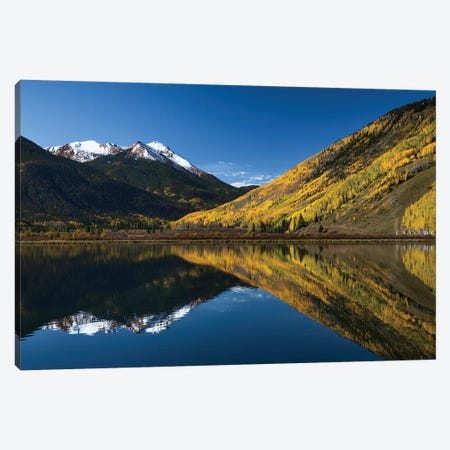 Red Mountain and autumn aspen trees reflected on Crystal Lake, Ouray, Colorado Canvas Print #AJO77} by Adam Jones Canvas Wall Art
