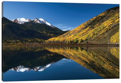 Red Mountain and autumn aspen trees reflected on Crystal Lake, Ouray, Colorado Canvas Art Print