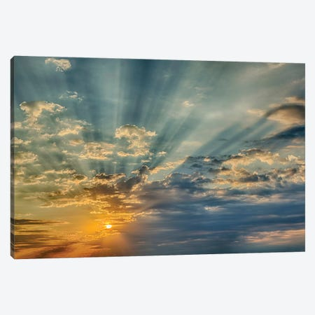 Sunbeams streaming through clouds at sunset, Cincinnati, Ohio Canvas Print #AJO81} by Adam Jones Canvas Artwork