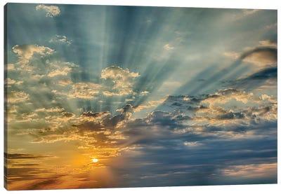 Sunbeams streaming through clouds at sunset, Cincinnati, Ohio Canvas Art Print