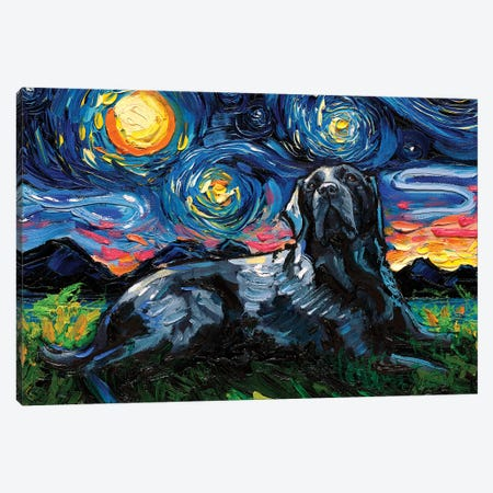 Black Labrador Night III Canvas Print #AJT100} by Aja Trier Canvas Art