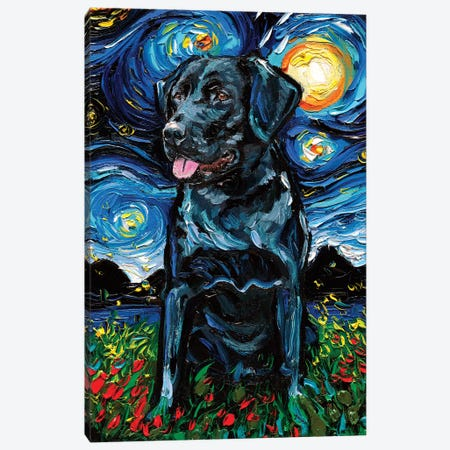 Black Labrador Night IV Canvas Print #AJT101} by Aja Trier Canvas Wall Art