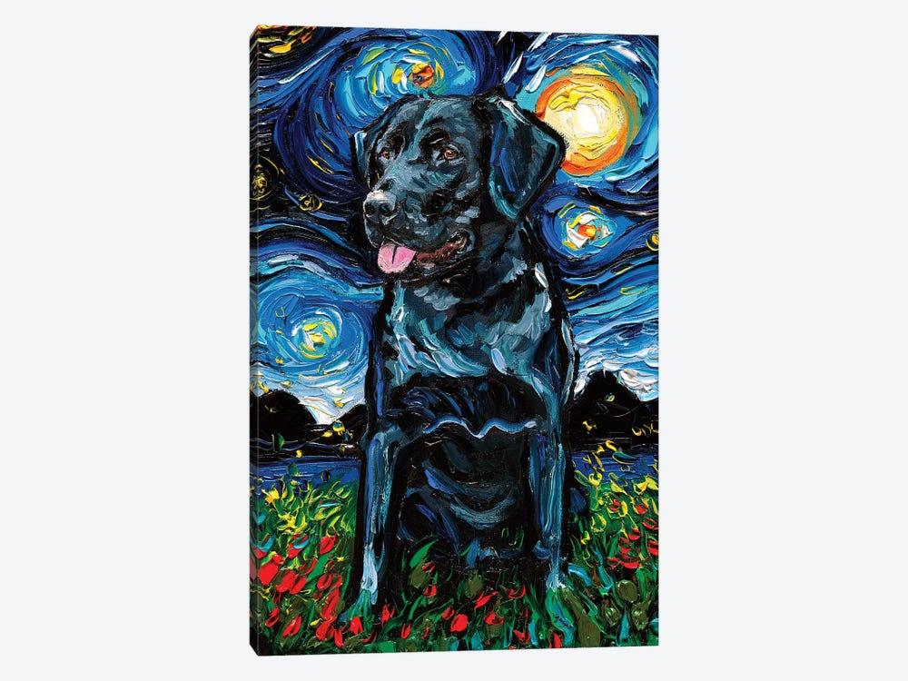 Yellow Labrador Lab Wall Art Print Dog Starry Night van Gogh Decor by Aja
