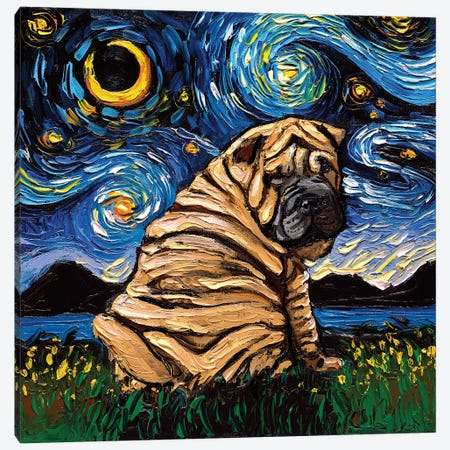 Shar-Pei Night Canvas Print #AJT103} by Aja Trier Canvas Art