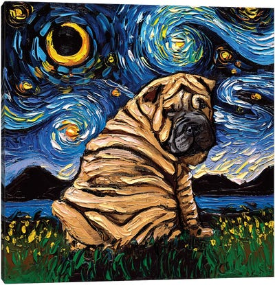 Shar-Pei Night Canvas Art Print