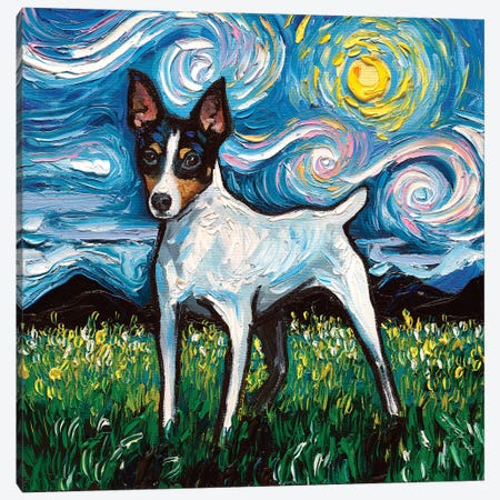 Toy Fox Terrier Night Canvas Print #AJT104} by Aja Trier Canvas Art Print