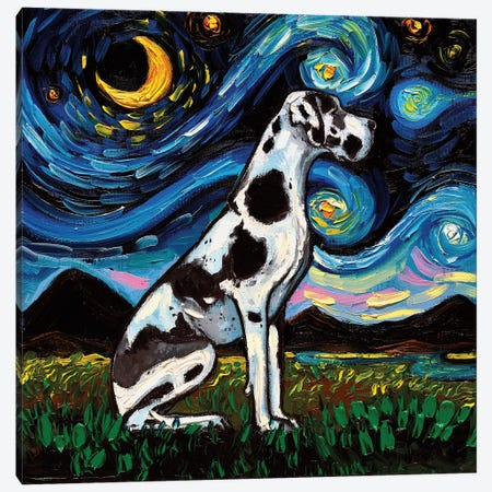 Harlequin Great Dane Night Canvas Print #AJT105} by Aja Trier Canvas Print