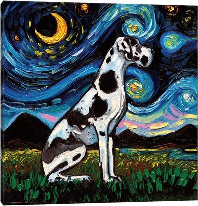 Harlequin Great Dane Night Canvas Art Print