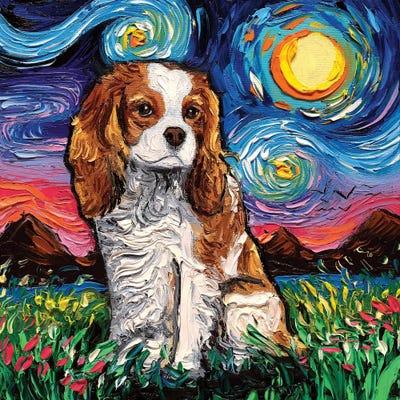 Tri Color Cavalier King Charles Spaniel Starry Night Dog Wall Art Print by Aja