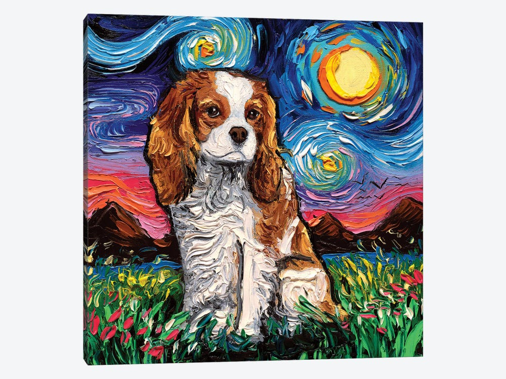 Cavalier King Charles Spaniel Night II by Aja Trier 1-piece Canvas Art