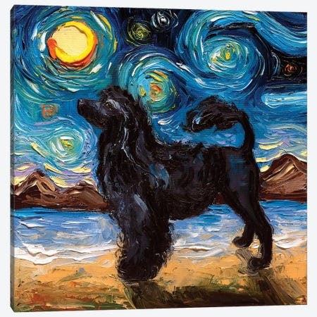 Portuguese Water Dog Night Canvas Print #AJT107} by Aja Trier Canvas Print