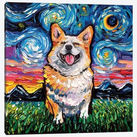 Smiling Corgi Night Canvas Print #AJT108} by Aja Trier Canvas Artwork